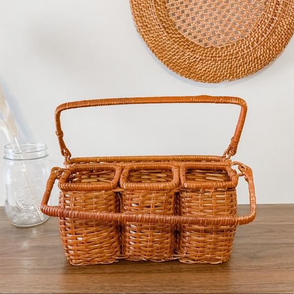 Vintage Boho Wicker Rattan Utensil Holder Basket